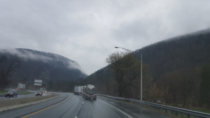 The mountains of the Pennsylvania and New Jersey border better known as the Delaware Water Gap.